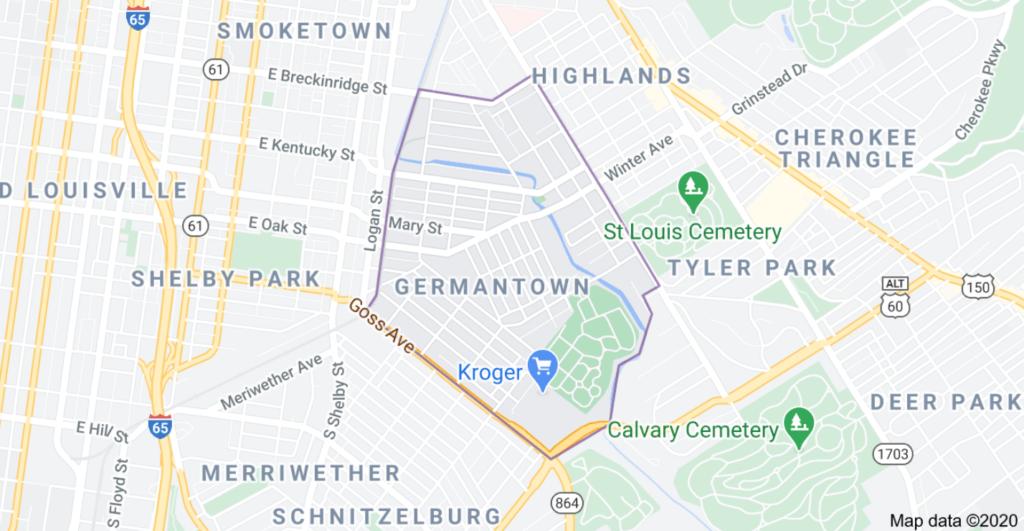 Germantown Neighborhood Louisville, KY Google Map