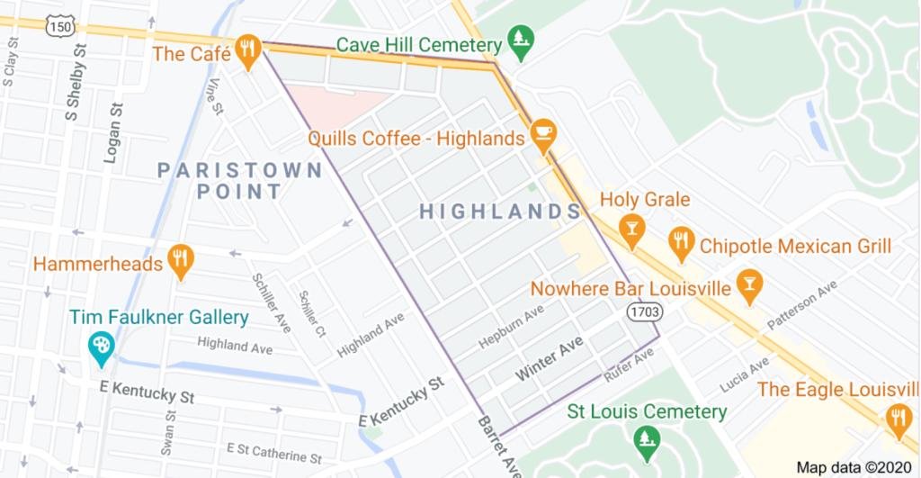 Highlands Neighborhood Map Louisville, KY