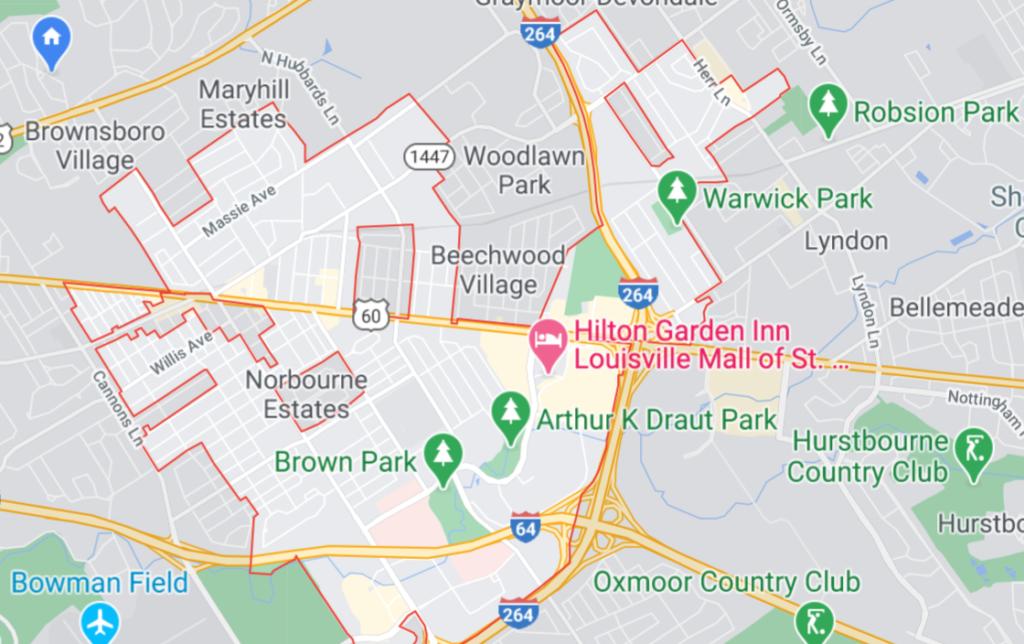 St. Matthews, Louisville, KY Map