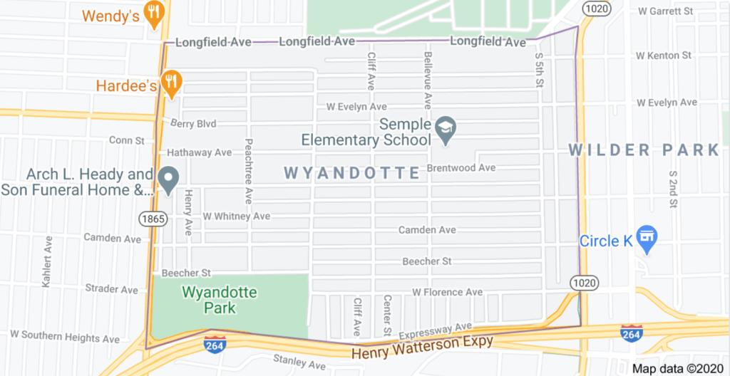 Wyandotte Louisville, KY Google Map
