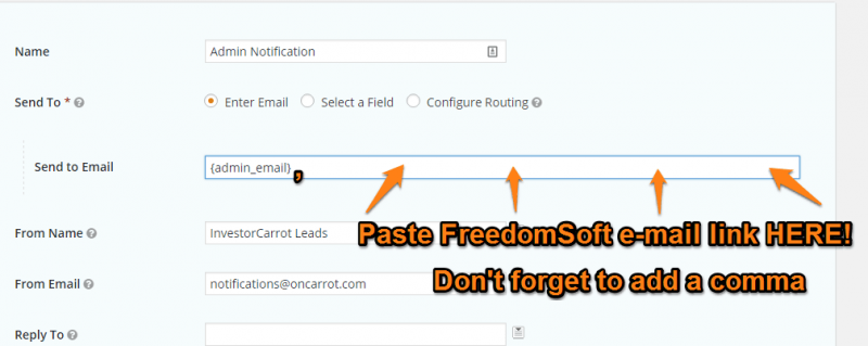 Carrot Form Notification E-mail Link