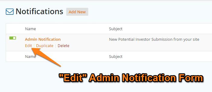 Carrot Form Notification Admin Edit