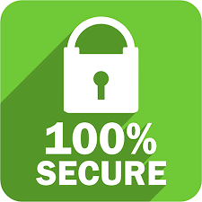 a padlock image with text 100% secure with green background