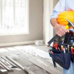 Handyman with a tool belt. House renovation service