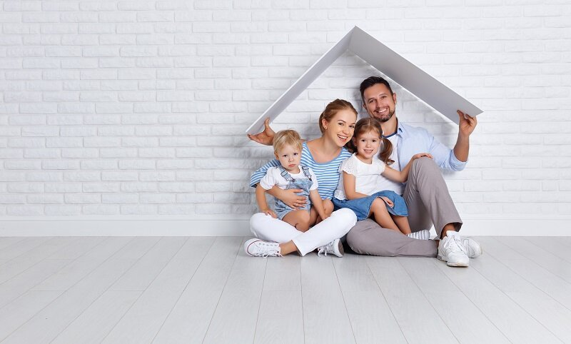 A Happy family with small house