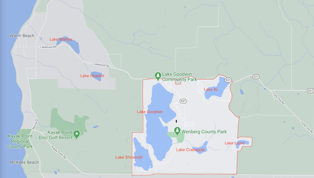 map of 7 lakes community in stanwood wa