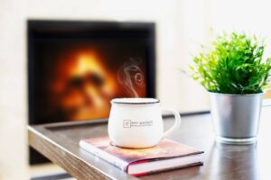 Professional Real Estate photos- steam rolling off a PLG coffee mug
