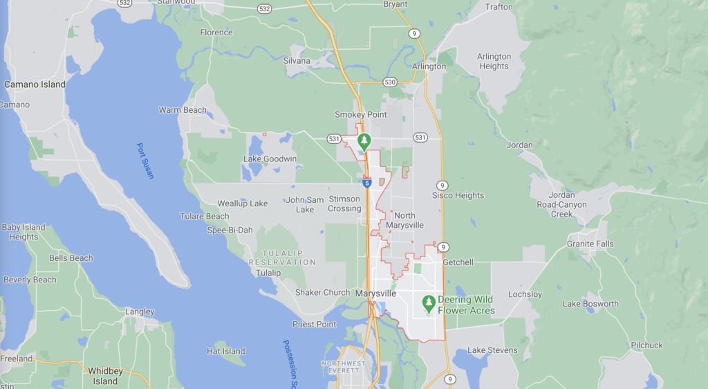 Marysville Washington zip code map for 98270