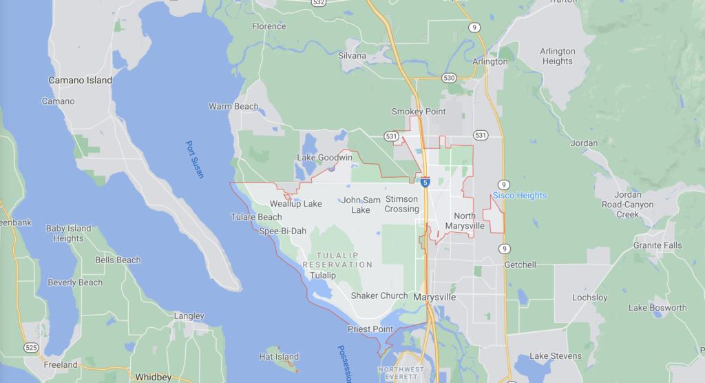 Marysville Washinton zip code map for 98271