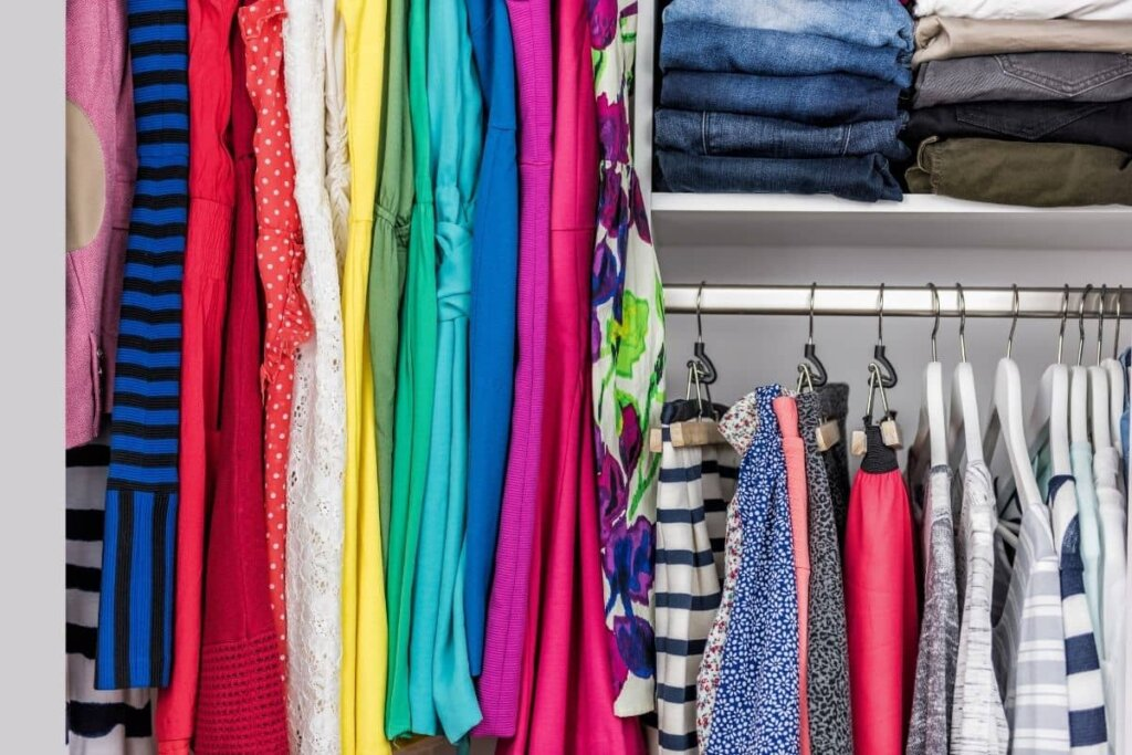 a brightly colored but organzied closet