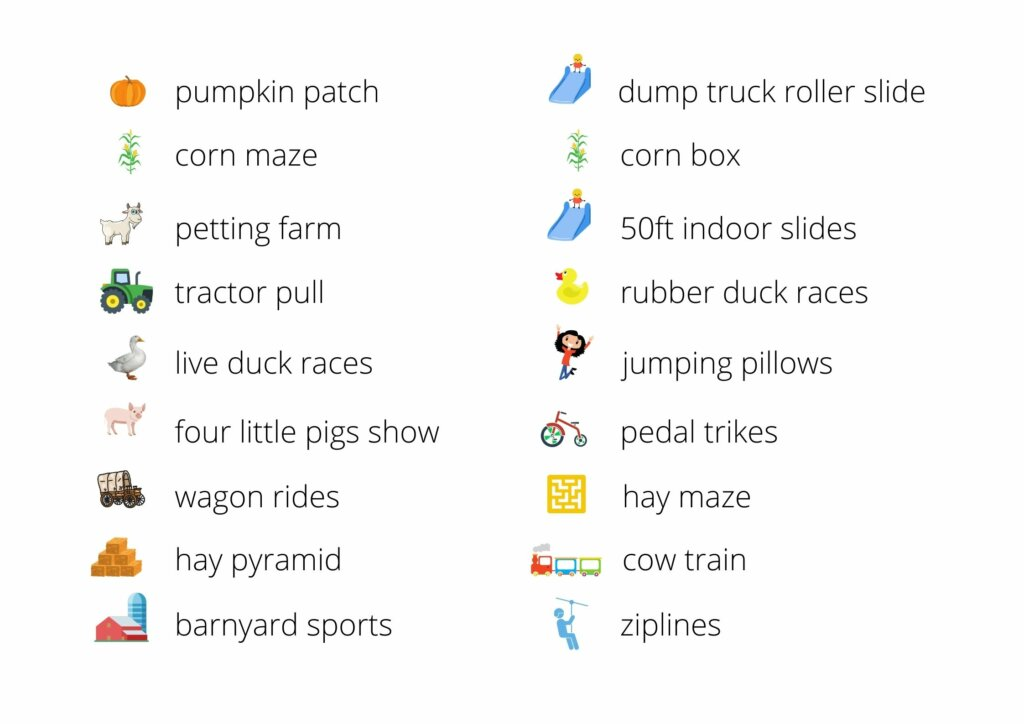 List of activities offered at fall festival Swan Trail Farms