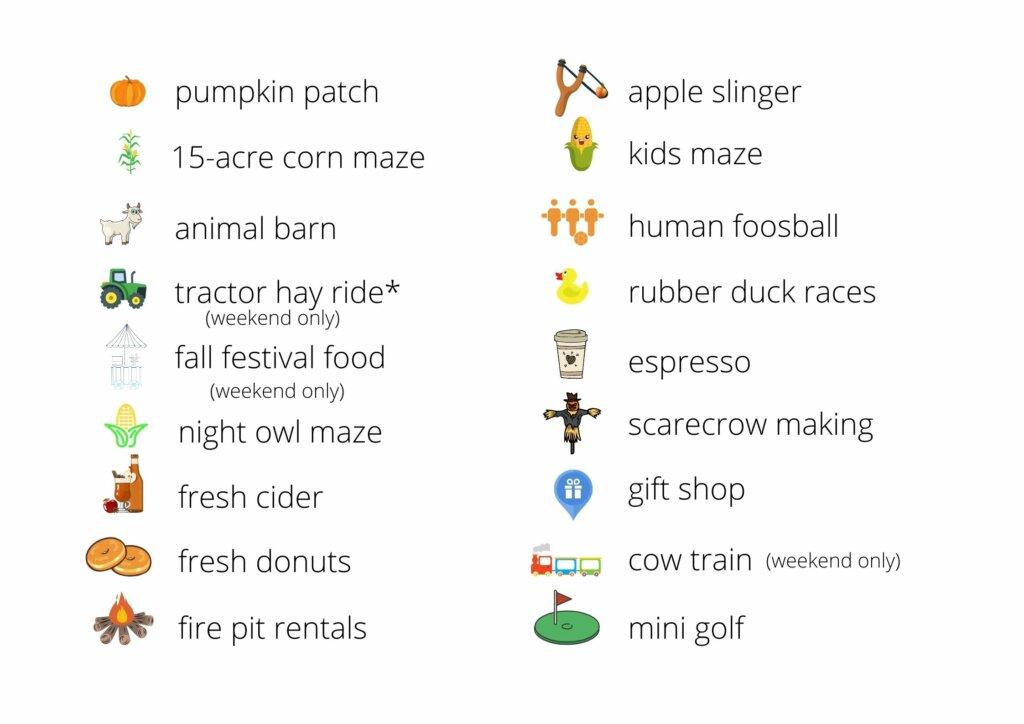 Swans Trail Farm list of fall activities