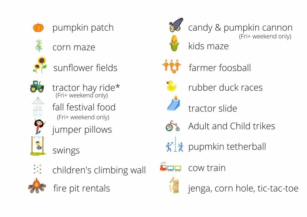 A list of Stocker Farms fall activites