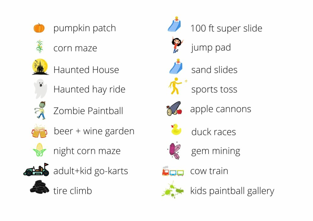 List of fall activities offered at Thomas Family Farm