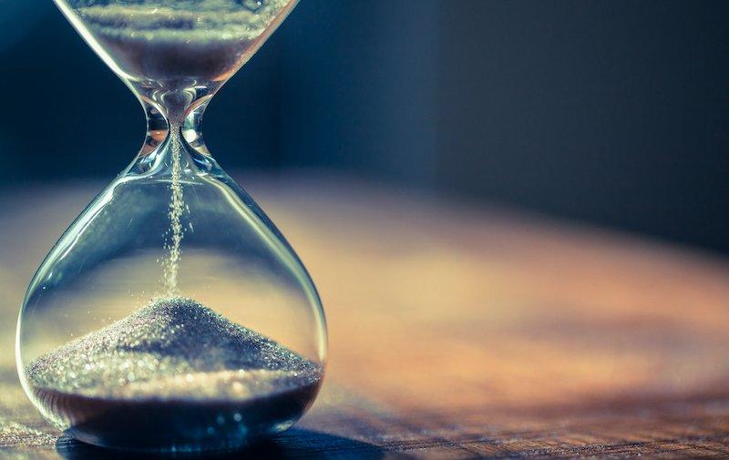 an hourglass half-way through