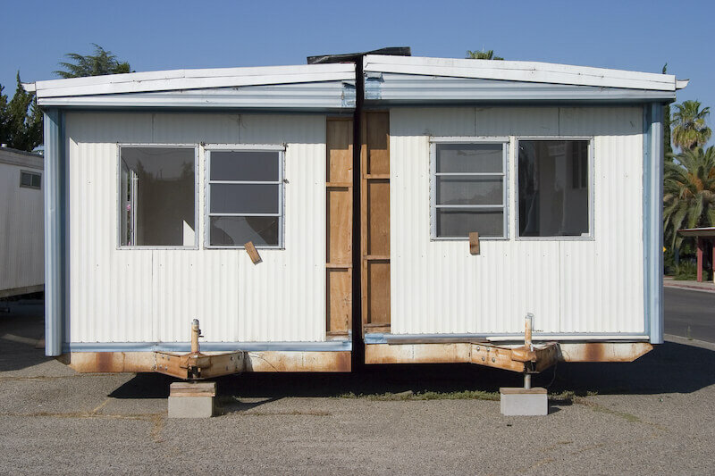 a split in half mobile home in Houston Texas for sale as-is