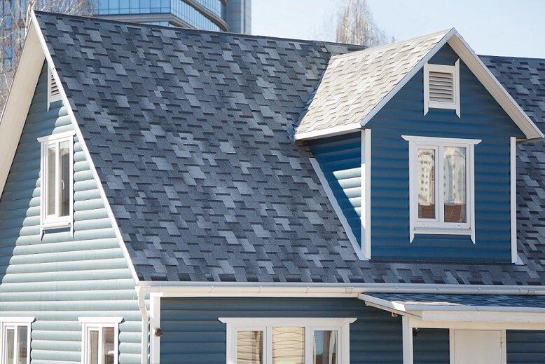 Blue and White Suburban Home.