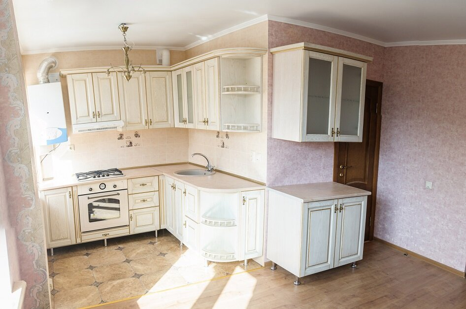 repairs at a modern kitchen, new furniture and pot