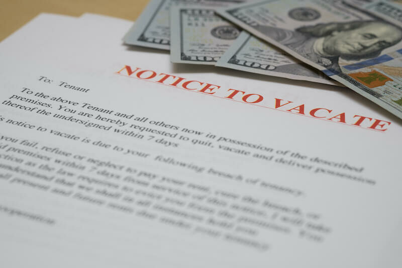 notice to vacate and a few dollar bills