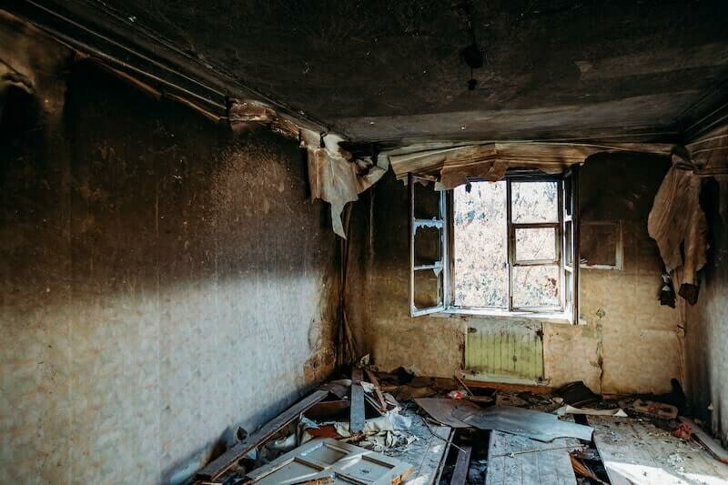 interior of a fire damaged house