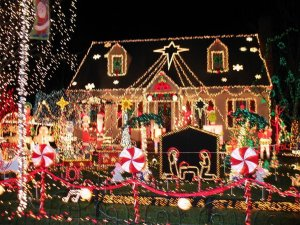 House full with Christmas decoration
