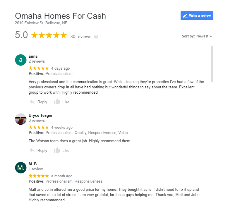 omaha homes for cash reviews