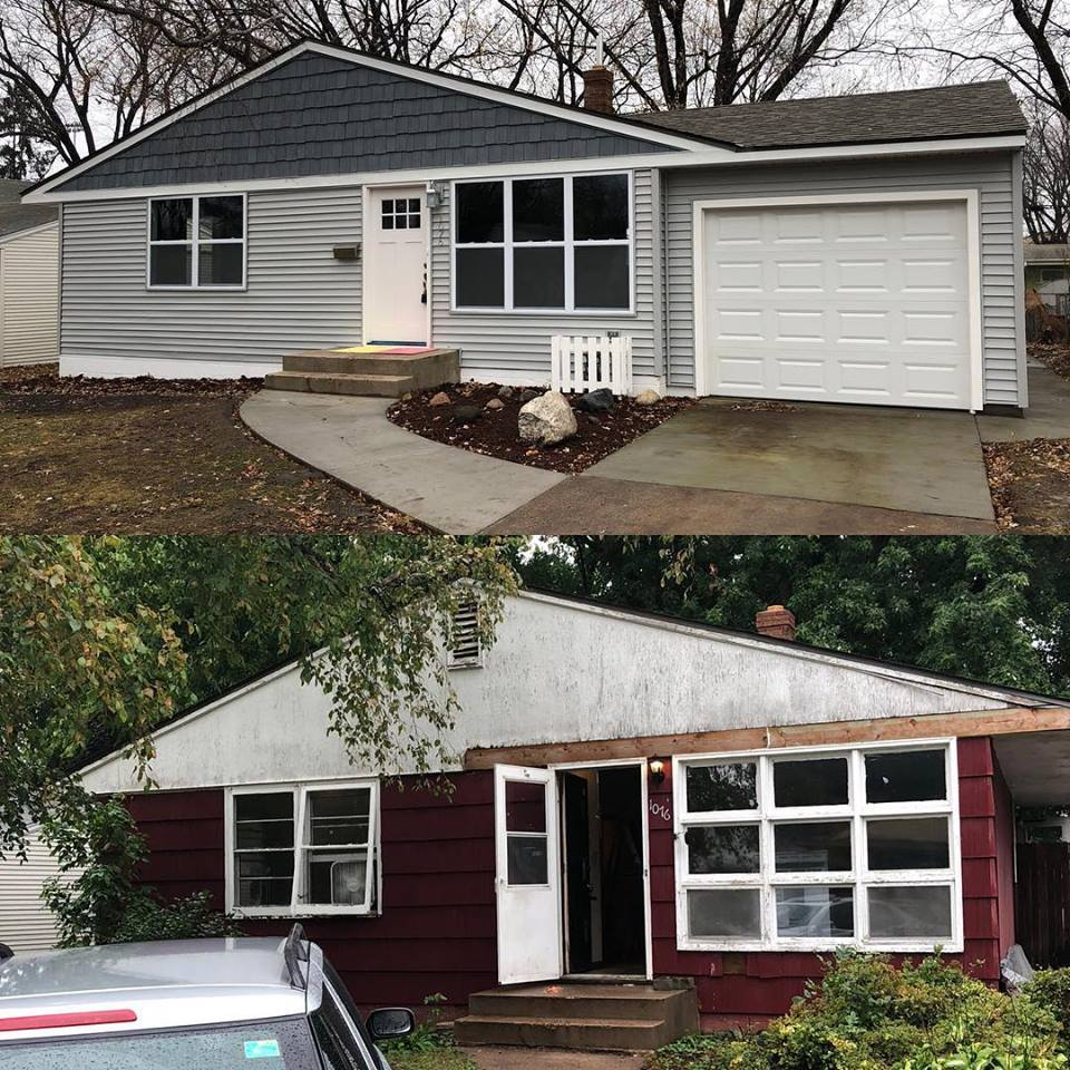 Before and after flipped house