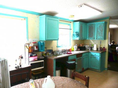 Kitchen towards living room & front door