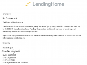 Proof of Fund Letter for Move On House Buyers