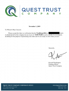 Quest Trust Capital Partner - Proof of Funds Letter