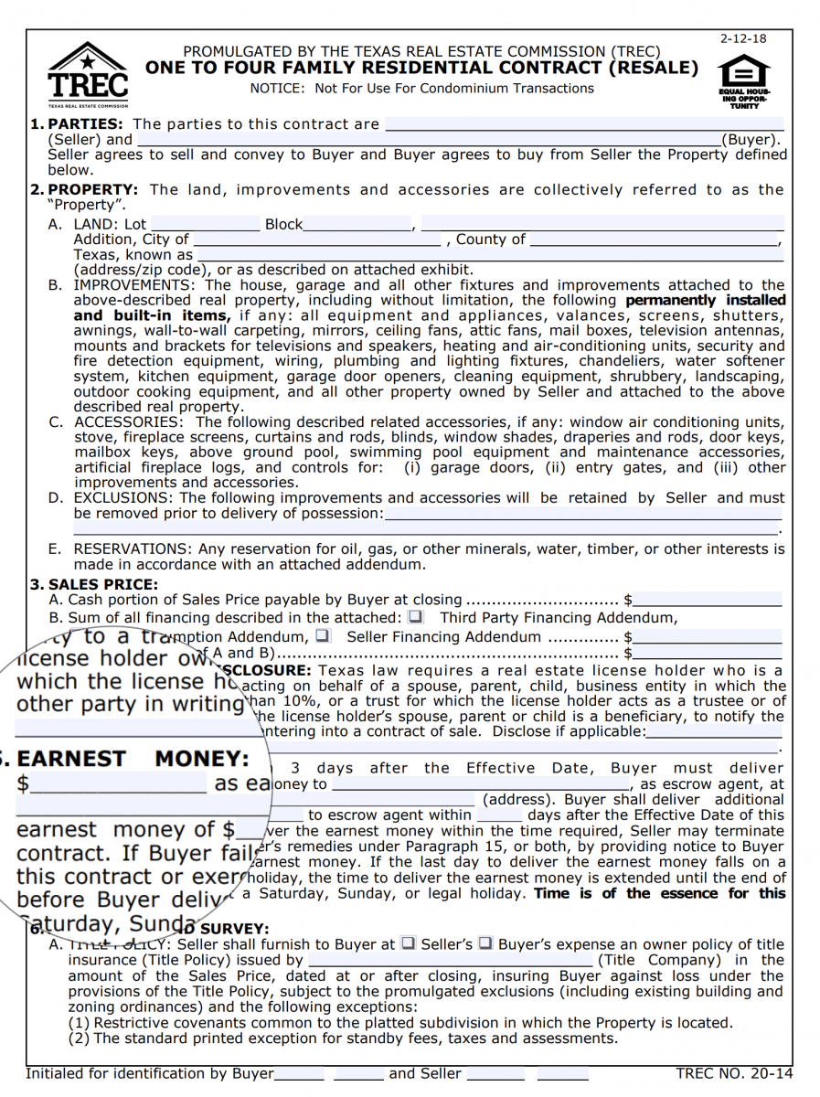 TREC Purchase and Sales Contract - Earnest Money Deposit