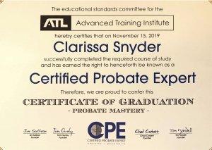 Certified probate expert certificate