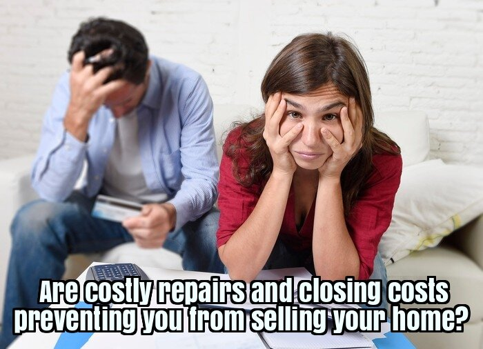 Young couple stressed about the high costs of selling their house