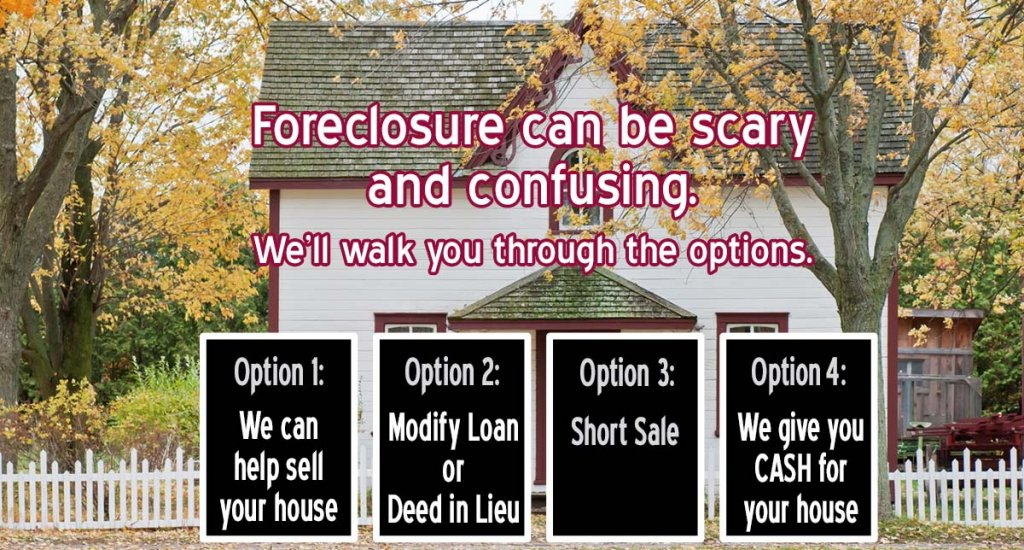 Options for avoiding foreclosure: sell your house, modify loan or deed in lieu, short sale, we can give you cash for your house