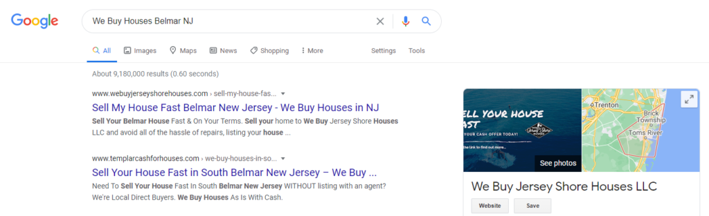 we buy houses NJ example search