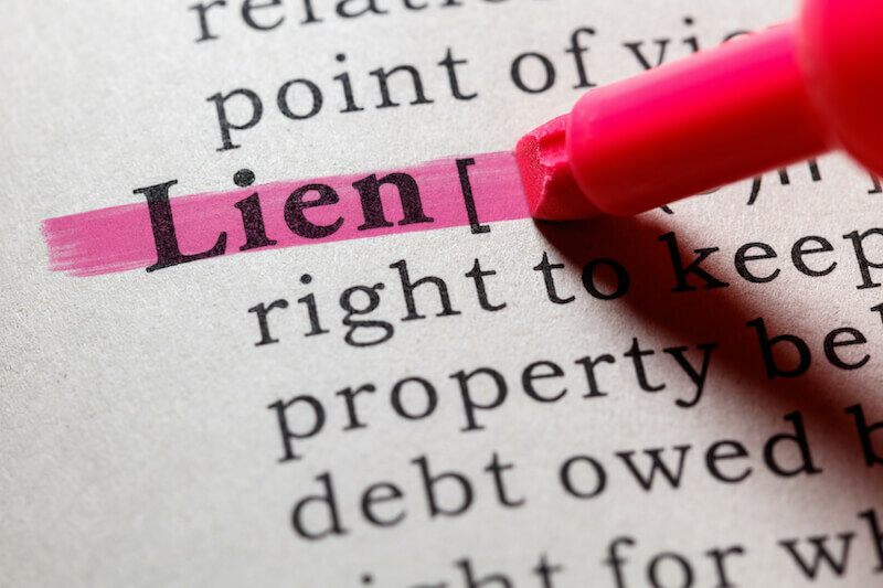 Dictionary definition of the word lien. including key descriptive words