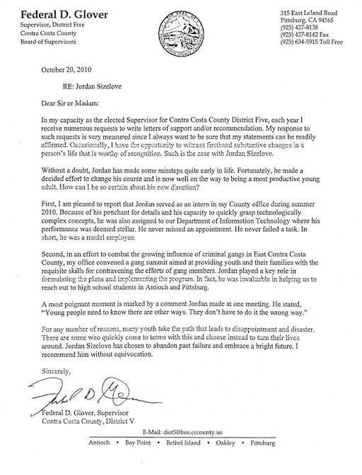 About Us - Federal D Glover - Letter