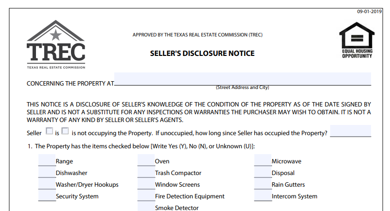 Houston Texas Seller's disclosure document