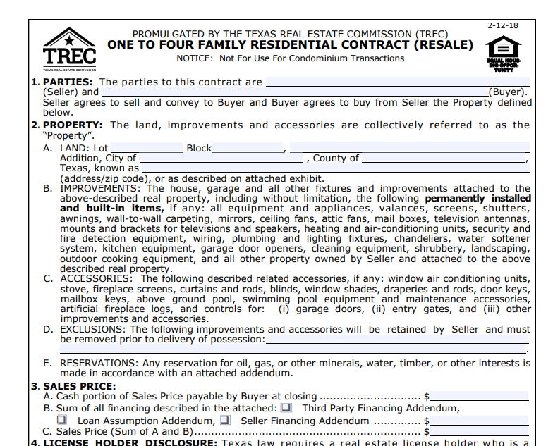 Houston Texas real estate contract
