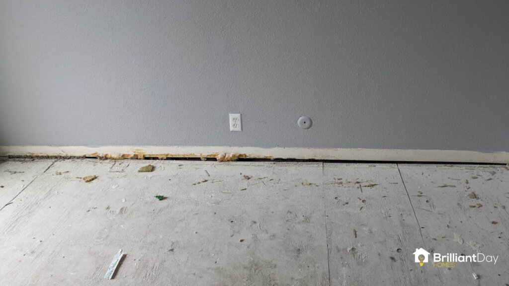floor and wall are separated due to foundation movement