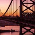 APhiladelphia bridge in the sunset