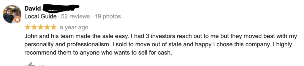 Dave Testimonial John Medina Buys Houses