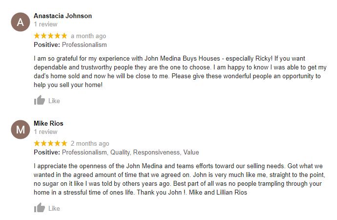 John Medina Buys Houses Testimonials