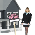 Woman standing in front of a house for sale while helping you understand the mechanism of sell my house fast in greenville nc