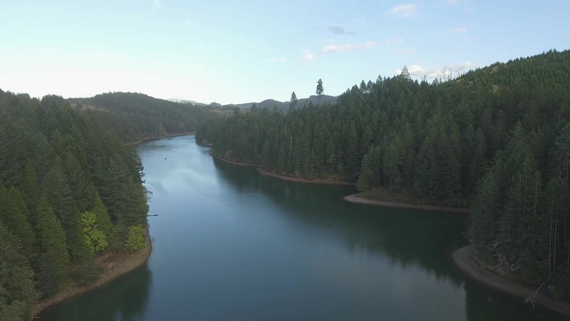 Drone shot of Cooper Creek, Sutherlin Oregon