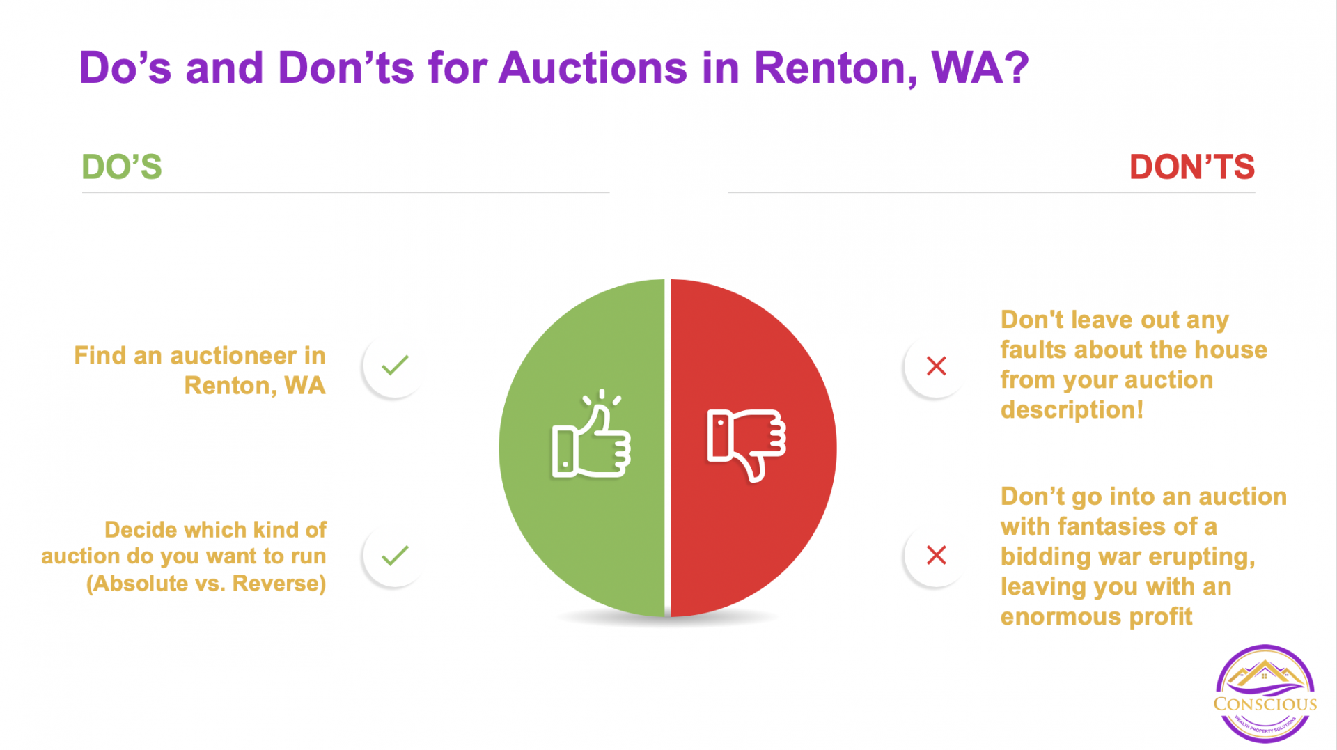 Is auctioning your house a good idea in Renton, WA? Here are the Do's and Don'ts on what to do with an auction!