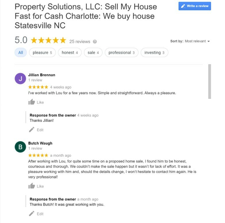 We buy houses reviews picture of reviews from clients.