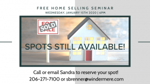 FREE Home Selling Seminar Wednesday, January 15th 2020