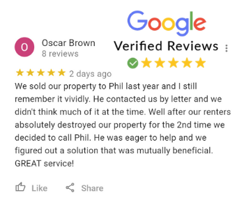 Oscar Brown Google Review For Phil Buys Houses Fast