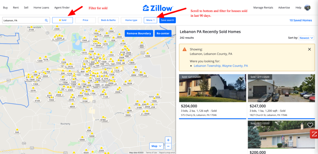 FInd comparable house prices on zillow